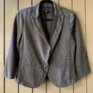 IZ Byer Black & Gray 3/4 Sleeve Blazer Large